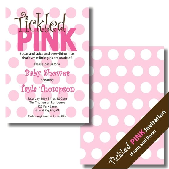 tickled pink baby shower invitation