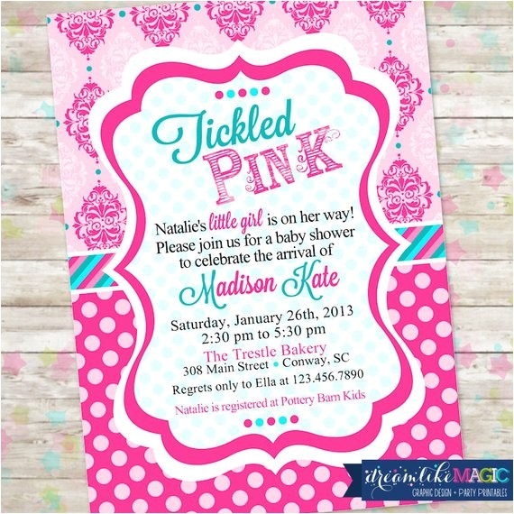 tickled pink baby shower invite baby