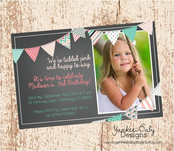 tickled pink bunting birthday invitation