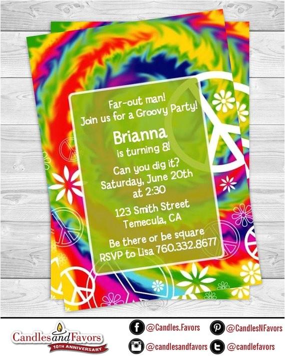 peace tie dye birthday party invitation