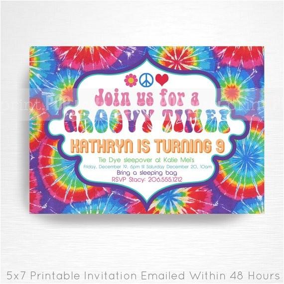 tie dye birthday party printable