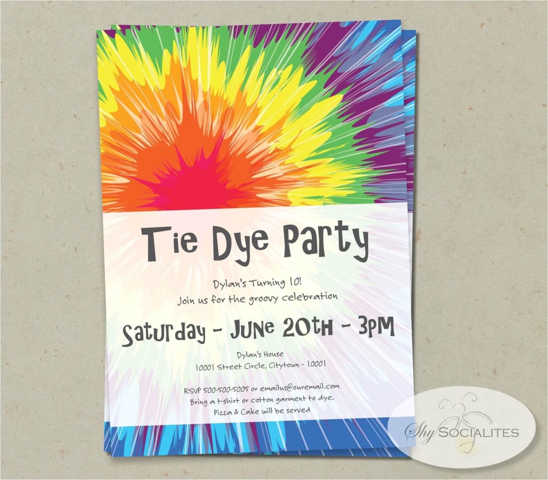 tie dye invitation instant download