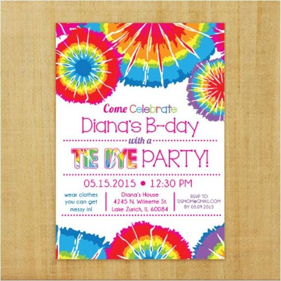 tie dye invitation printable