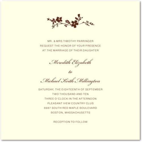 thermography wedding invitations wildflower branch