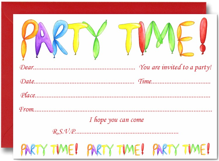 kids birthday party invitation cards
