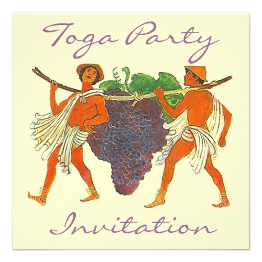 cluster of grapes togas toga party invitation 161389520819582224