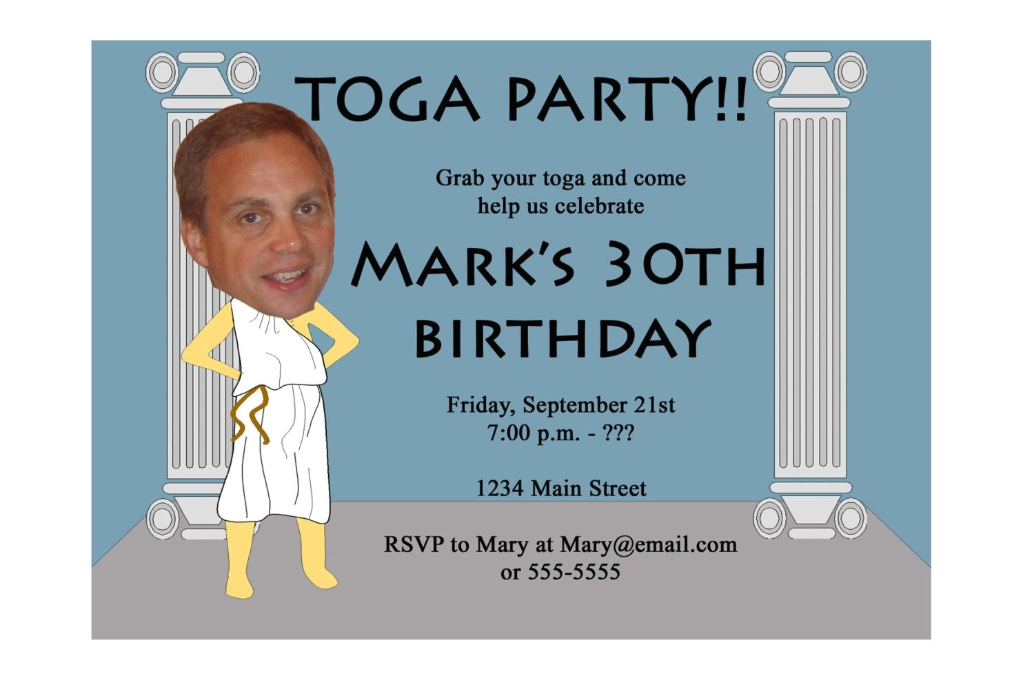 toga party invitation funny unique