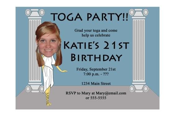 toga party invitation funny unique