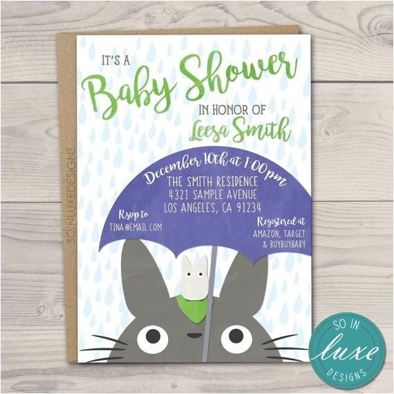 totoro baby shower invitation 5x7 rain
