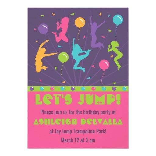 trampoline birthday party invitations for girls 161007076063081964