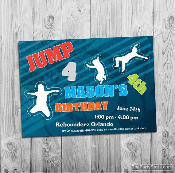 post trampoline birthday party invitations printable 282415