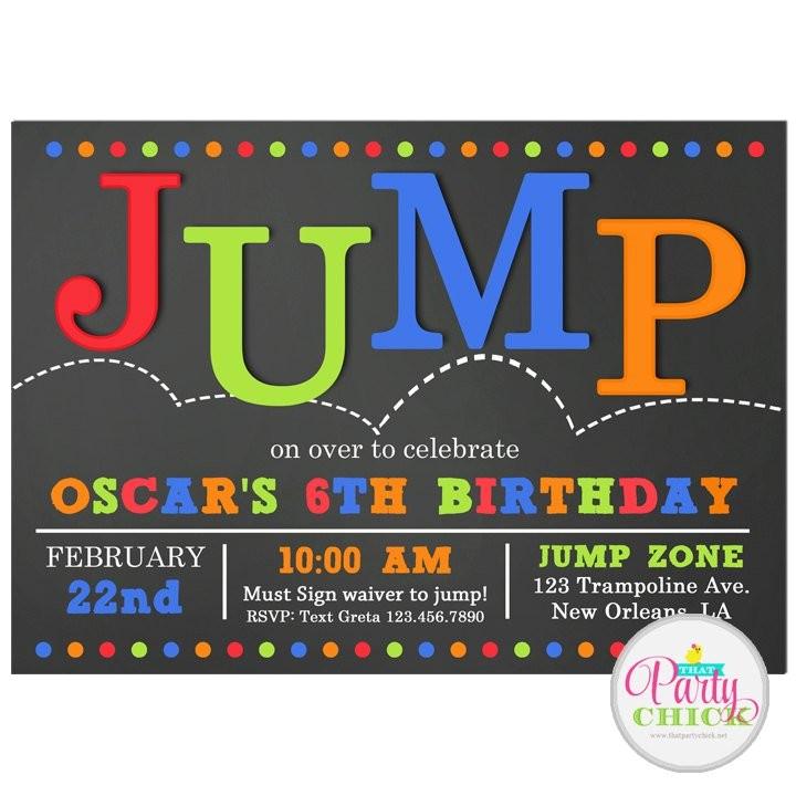 jump invitation printable or printed