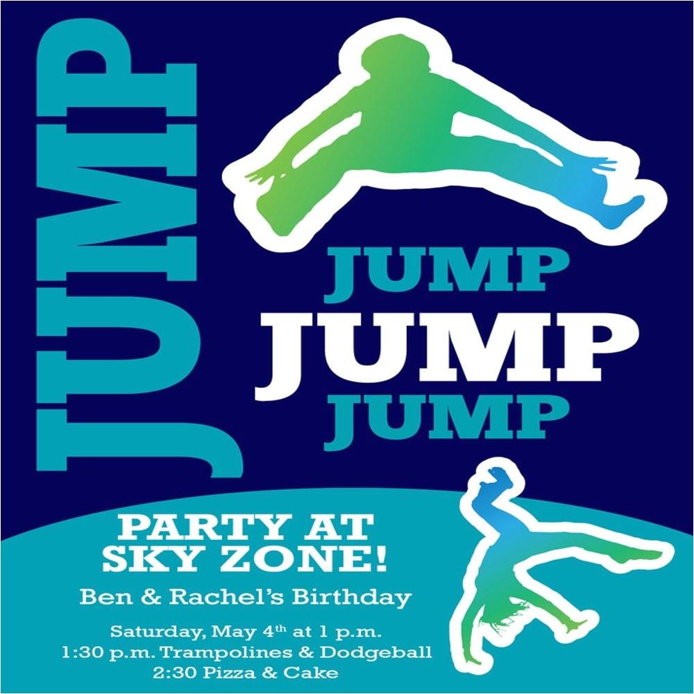 trampoline themed invitation