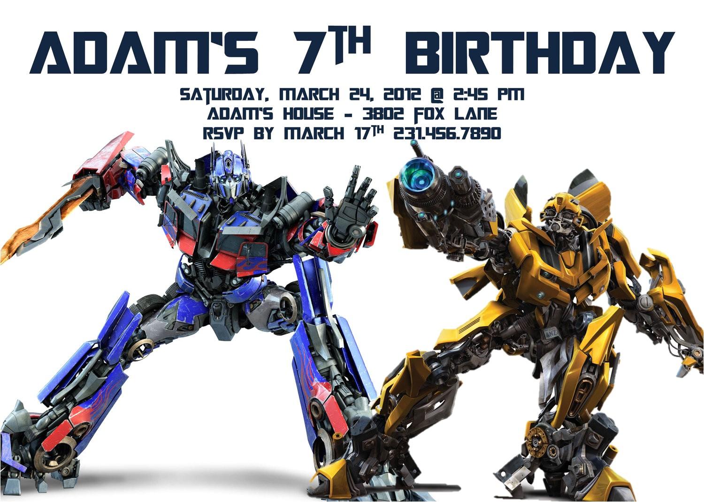 transformer birthday invitations