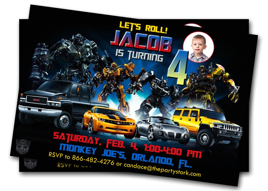 transformers birthday party invitations