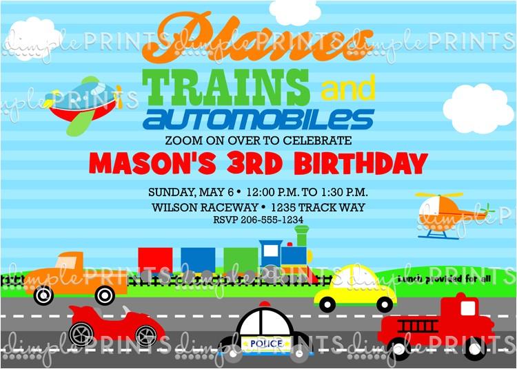 transportation birthday party invite