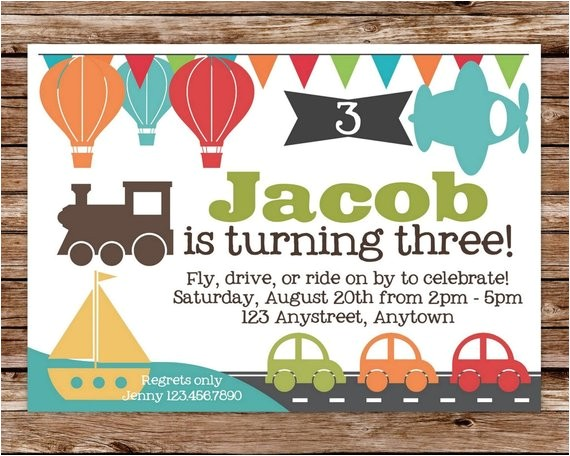 printable transportation birthday party invitation