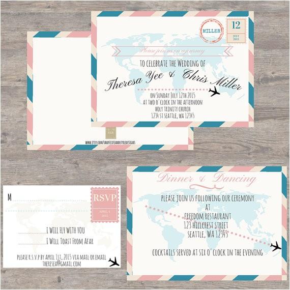 11 travel themed wedding invitations