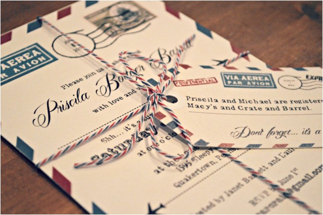 bridal shower invitations travel themed