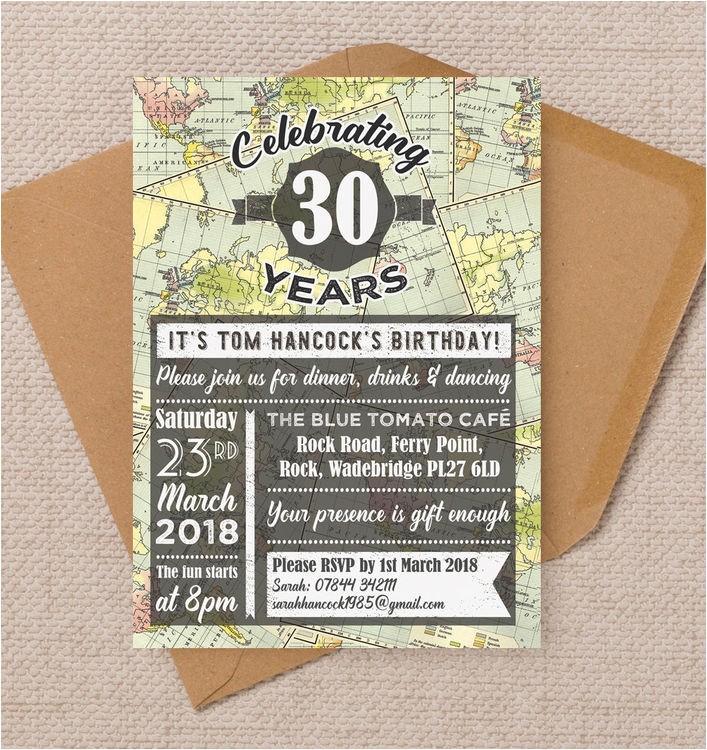 travel world map themed 30th birthday party invitation