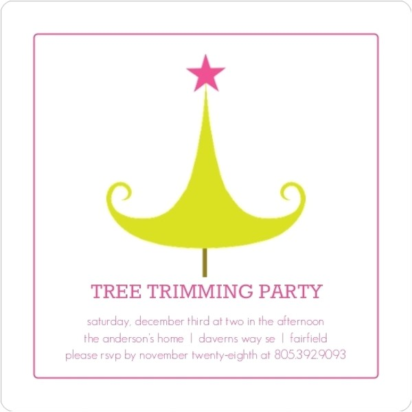 bright tree trimming holiday party invitation