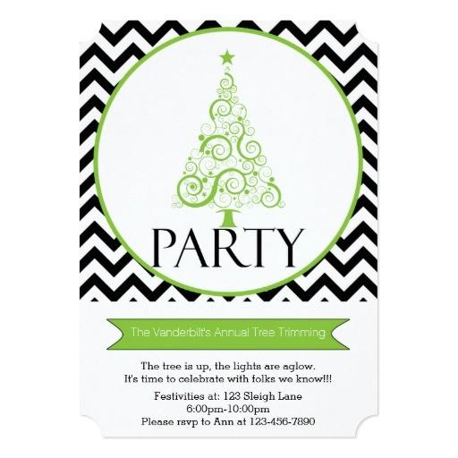 chevron christmas tree trimming party invitation 161779637019874530