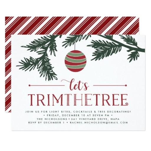christmas boughs tree trimming party invitation 256098790018035350