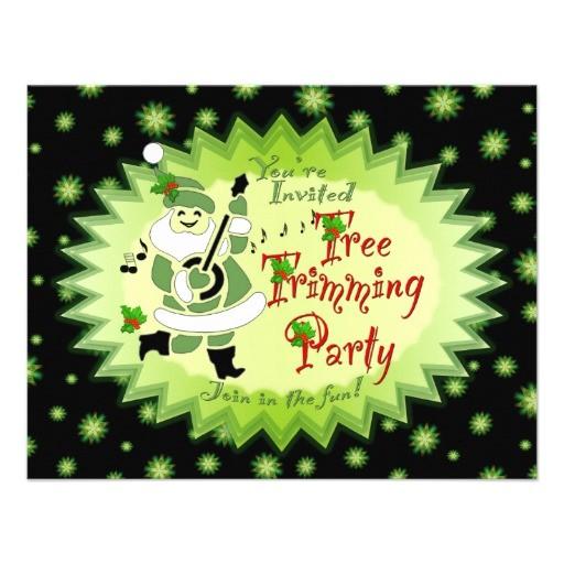 musical santa elf tree trimming party invitations 161073280288947173