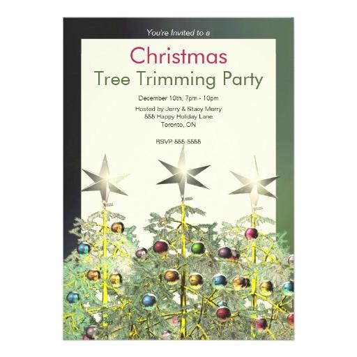 three christmas trees tree trimming party invites 161743089716036863