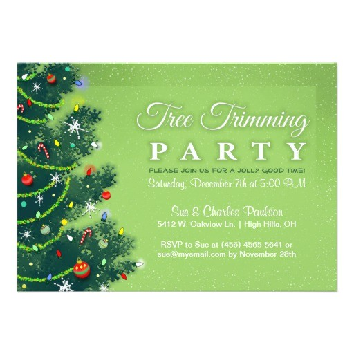 Tree Trimming Party Invitations Tree Trimming Party Invitation Green Tree Zazzle
