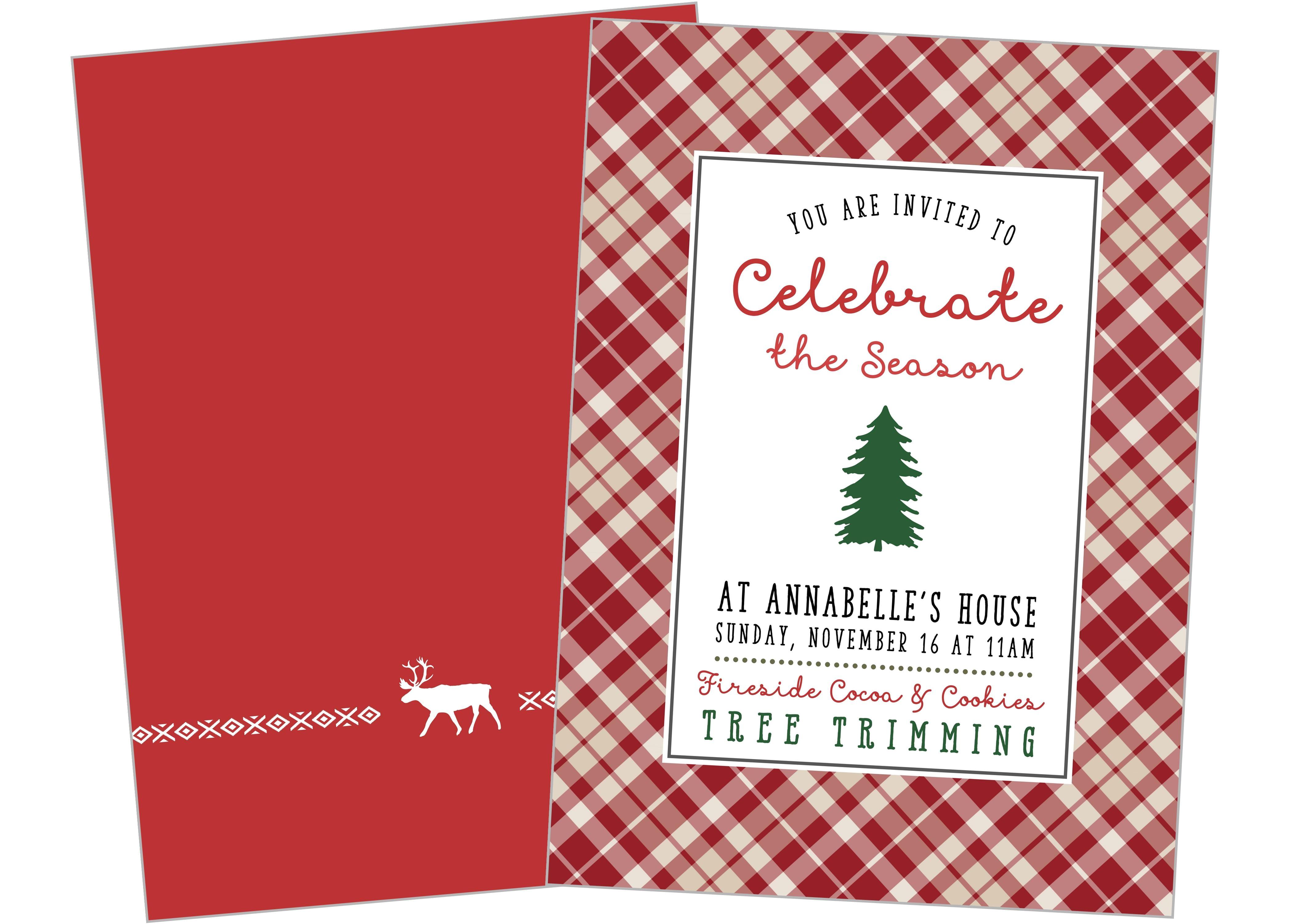 tree trimming party printable invitation christmas winter season