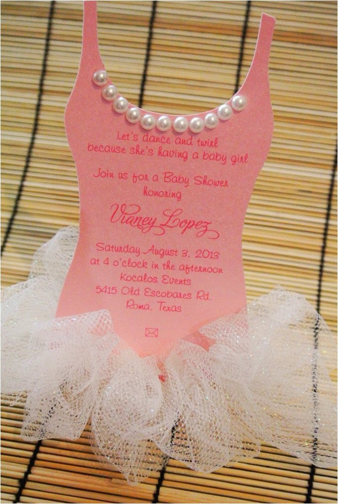 tutu baby shower invitation ballerina