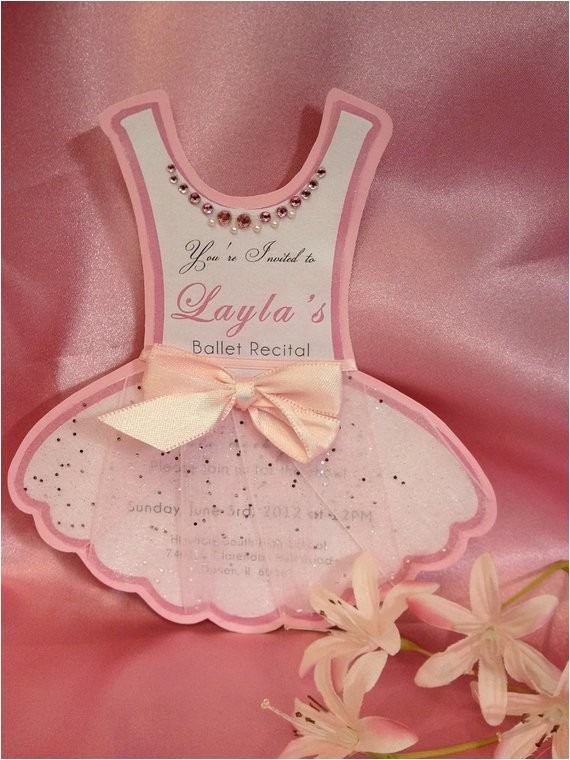 large ballerina tutu birthday invite or