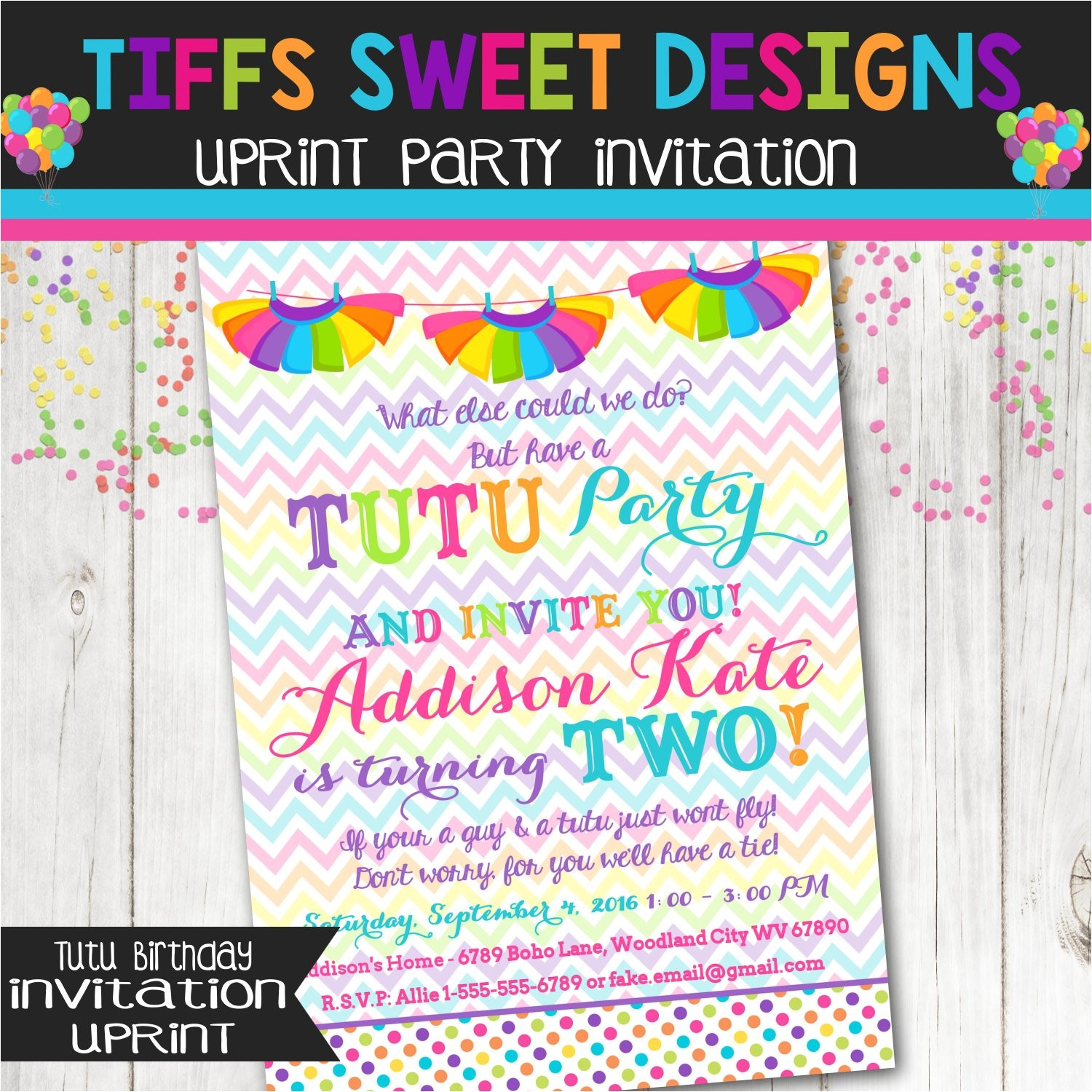 rainbow tutu birthday party invitation
