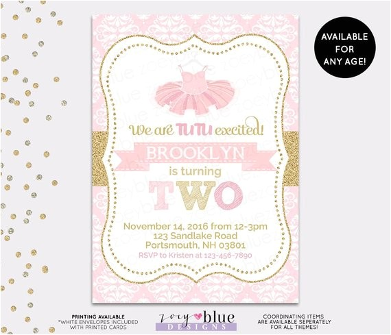 tutu birthday invitation ballerina