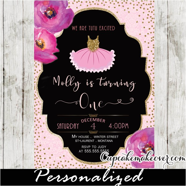 Tutu Birthday Party Invitations Tutu Birthday Invitations Watercolor Floral Pink Ballet