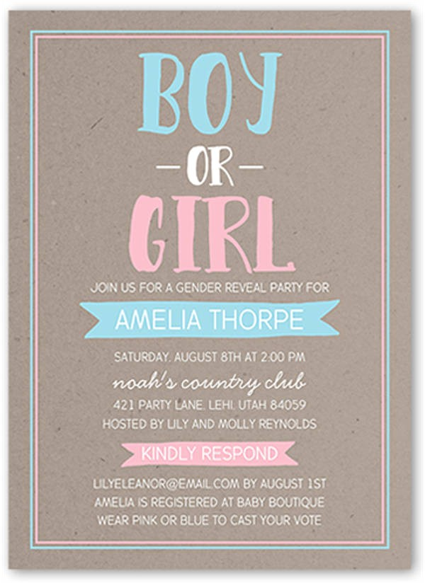 Twin Gender Reveal Party Invitations 10 Gender Reveal Party Invitations Psd Ai Free