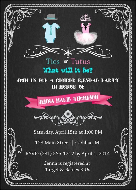 gender reveal baby shower invitation ties