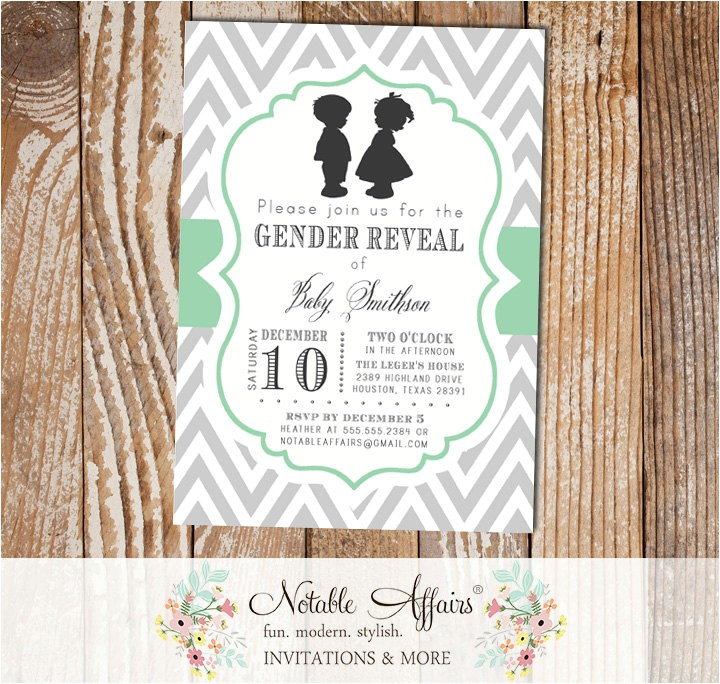 gray and mint boy girl silhouettes baby shower gender reveal birthday twins gender neutral party invitation