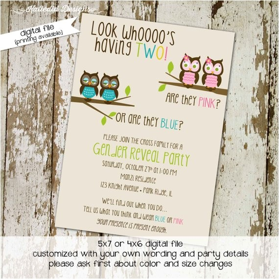 twins gender reveal invitation owl baby