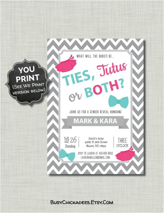 twins gender reveal invitations ties