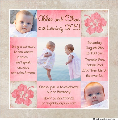 boy girl hawaiian birthday invitation