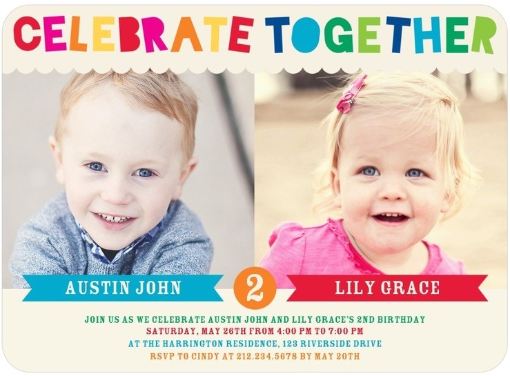 Twin Girl Birthday Party Invitations Twins Bday Invites Tiny Prints Mixed Gender Celebrate