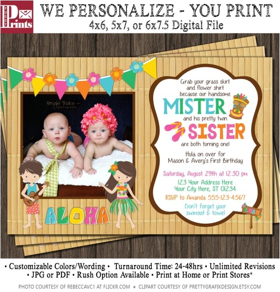 twins birthday invitation luau party