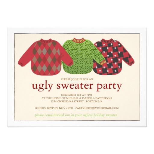 tacky sweater christmas party invitation wording