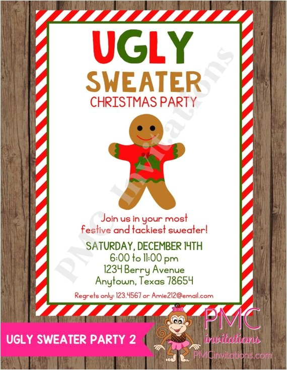 ugly christmas sweater party wording for the