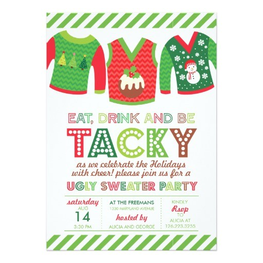 eat drink and be tacky ugly sweater party 5x7 paper invitation card 161941962021742202