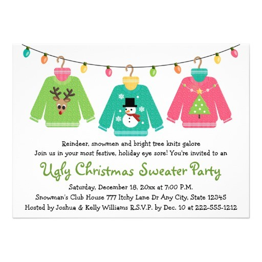 ugly christmas sweater party invitations 161361855638005317