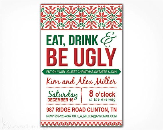 free printable ugly christmas sweater party invitations