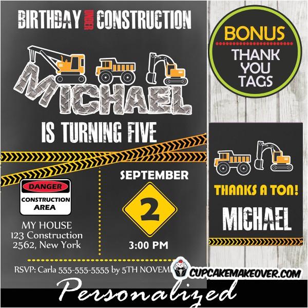 birthday under construction party invitation d8
